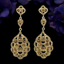 18K Gold Plated GP Topaz Crystal Rhinestone Chandelier Drop Dangle Earrings 6497