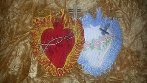 Embroidered The Sacred Heart of Jesus and The Immaculate Heart of Mary 8in