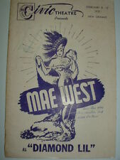 MAE WEST Autograph - Playbill Signed  DIAMOND LIL  1951  FEB 8 / 12