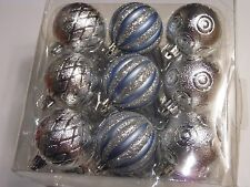 18 BLUE & SILVER BALL GLITTER SHATTER RESISTANT CHRISTMAS ORNAMENTS DECORATION