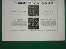1939 PUB ETS AERA EQUIPEMENTS AVIATION AVION ALTIMETRE TACHYMETRE ORIGINAL AD
