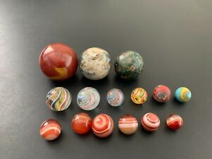Antique Vintage Lot of (15) Marbles - Swirl - Agate - Clay -