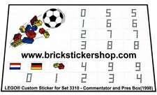 Replica Pre-Cut Sticker for Lego®Sport Soccer set 3310 - Commentator and P(1998)