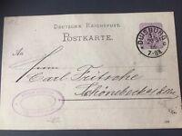 Deutsche Reichspost Postkarte Duisburg 20.03.1886 toller Stempel Top Zustand