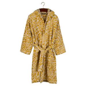 Roberto Cavalli terry bathrobe with hood Snow Leopard Gold