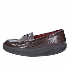 scarpe donna MBT 37 mocassini marrone vernice AC151-B