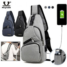 Men Women Canvas Sling Bag Backpack Crossbody Shoulder Chest Cycle Daily Travel
