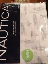 Nautica Twin Sheet Set Gray White Sail Boats Ships Nautical Cotton Polyester NIP