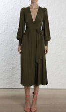 Zimmermann  'Whitewave' Wrap Midi Dress in Khaki 🌟🌟🌟Size