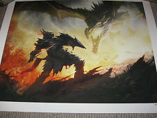 Elder Scrolls DRAGON FIGHT Lithograph Art Print Limited Edition Giclee #83