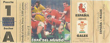 1995 Copa Mundial de rugby que cumplen los requisitos coinciden con boleto-España V Gales 21 de mayo de 1994 Madrid