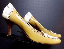 Vintage Bruno Magli Mustard/Vanilla Patent Leather Kitten Heels Sz. 37/6.5 WOW!