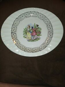 The Crown China Co Minerva Ohio Platter Colonial Couple 22kt Gold #77