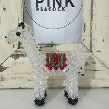 HORSE Beaded KITSCH Statue Clear Black Red & Green Beads Ornament
