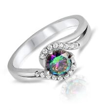 Simulated Mystic Rainbow Topaz Diamond Halo Sterling Rhodium Silver Ring