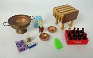 Vintage Dollhouse Miniature Assorted Groceries And Kitchen Accessories Lot Of 11