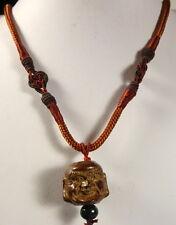 AGARWOOD (Eaglewood) (Chenxiang Wood) DOUBLE BUDDHA HEAD PENDANT ON NECKLACE