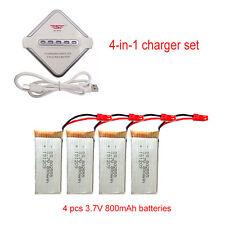 4x 800mAh Battery+JST 4in1 Plug Charger For JJRC V686 H12C F181 Helicopter bgc