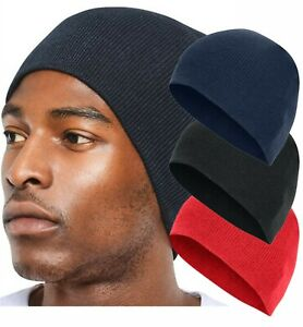 Mens Ladies Knitted Wooly Beanie Hat Warm Winter Ski Skull Cap Black Navy Red