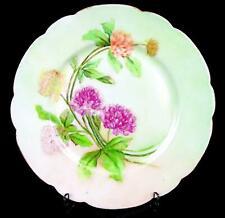 Jean Pouyat Limoges Francia Jpl Verde Menta Floral 21.9cm Festoneado Placa
