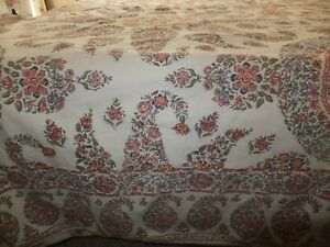 Pottery Barn Cotton Duvet King & 2 Pillow Shams Paisley Motif Floral Shabby Chic