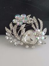 Silver and AB Crystal Brooch/Pin