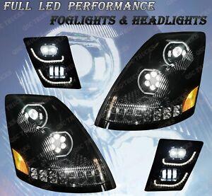QSC Full LED Performance Black Head Lamp Fog Light LH RH Set for Volvo VNL 04-17
