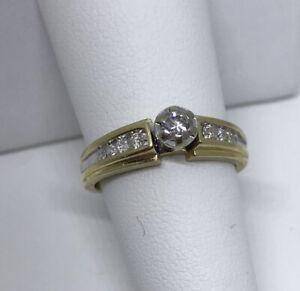 Engagement Ring 14 Karat Yellow Gold Keepsake Size 7 Diamond Accents Round