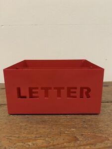 Vintage 80's Red Metal Letter Rack Tray Holder
