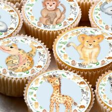 24 Edible cupcake fairy cake toppers decorations ND5 Jungle Animals boys Lion