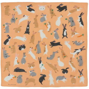 """Japanese Furoshiki Wrapping Cloth Scarf Tapestry 19.75"""" Cotton Rabbit Fluffle"""