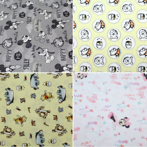 """100% Cotton, Disney Characters, Winnie The Pooh, Mickey Mouse, 44"""" Wide"""