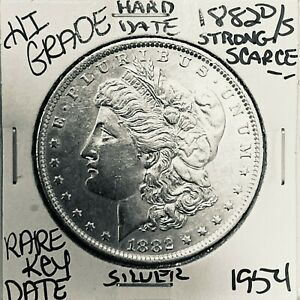 1882 O/S MORGAN SILVER DOLLAR HI GRADE U.S. MINT RARE KEY COIN 1954