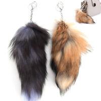 "Long Faux Fox   Tail Keychain False Furry Car Bag Keyring Purse Accessory""'"