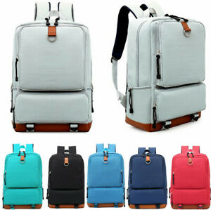 Women Canvas Backpack School Travel Rucksack Laptop Satchel Shoulder Bag Unise