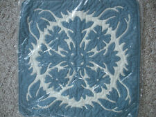 """NEW 16"""" Hawaiian Blue Floral 100% Quilted Applique Cushion Pillow Cover"""