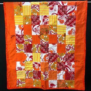 Throw Blanket Lap Quilt Yarn Tied Art ORANGE Granny Square Flower Retro MOD BOLD