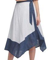 DKNY Women's Skirt Blue Size 14 Asymmetrical Chambray Trim Tie Waist $89 #440