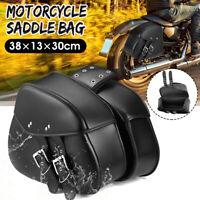 2pcs 15'' PU Leather Motorcycle Motorbike Side Hard Saddle  Saddlebags Tools