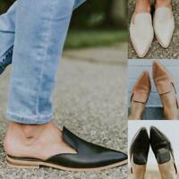 PU Leather Women Low Heel Slippers Mule Shoes Pointed Sandal Slide Toe Patc Z9L3
