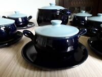 DENBY POTTERY 20 PIECE SOUP BOWL TUREEN AND PLATES SET BLUE STUNNING SET