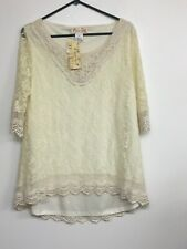 LADY NOIZ Womens Cream Lace Shirt Size XL. New With Tags