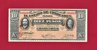 "UNC 10 Pesos 1915 Chihuahua ERROR ""Vampire Spill"" Note MEXICO Series N (P-S535a)"