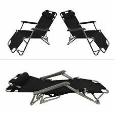 2pc Black Garden Sun Loungers Folding Outdoor Sun Bed Recliner Seat Garden Chair