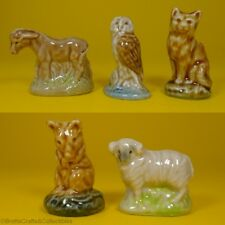 Wade Whimsies 1977/84 Set #8 - Donkey, Barn Owl, Farm Cat, Barn Mouse & Ram