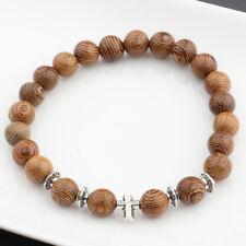 Silver Cross Bracelets Men Fashion 8mm Wood Beads Yoga Reiki Bracelets Xmas Gift