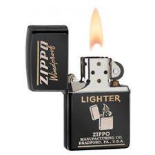 Zippo Ebony Windproof Lighter With 1940's Zippo Graphics,  # 28535, New In Box