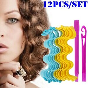 12PCS Water Wave Curl 25-65cm Magic Curlers Formers Spiral Roller Leverage Tool