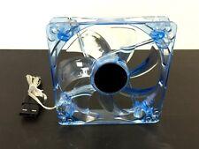 Blue 4x LED Lights Neon Quite Silent Clear 12cm 120mm Computer Case Cooling Fan