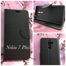Black Mooncase Stand TPU in Wallet Case Cover For Nokia  7 Plus  + SP